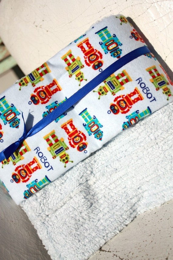 Baby boy blanket, Robot print and TEAL chenille blanket for baby boy - baby boy gift