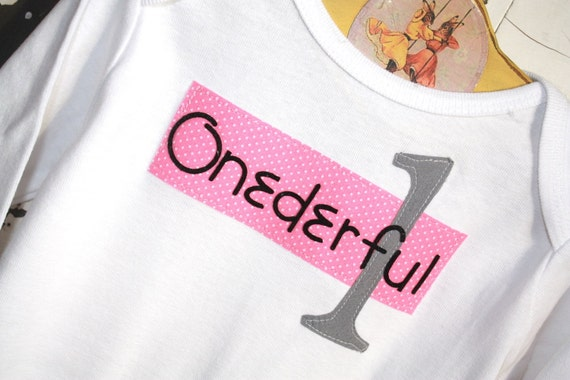 First birthday onesie, Onederful photo prop , First birthday onesie for baby girl in pink and gray