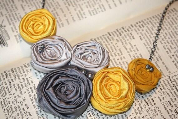 Yellow statement necklace, Fabric flower bib necklace in yellow and gray, yellow and gray bib bridesmaid necklace