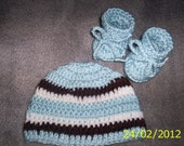 Baby Boy hat and booties crochet newborn blue white brown