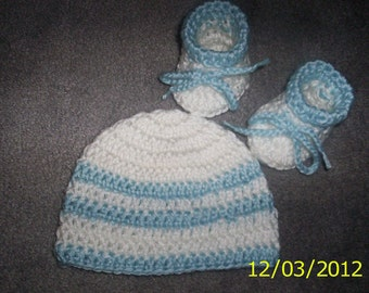 Baby Hat Crochet Boy hat and booties newborn blue white