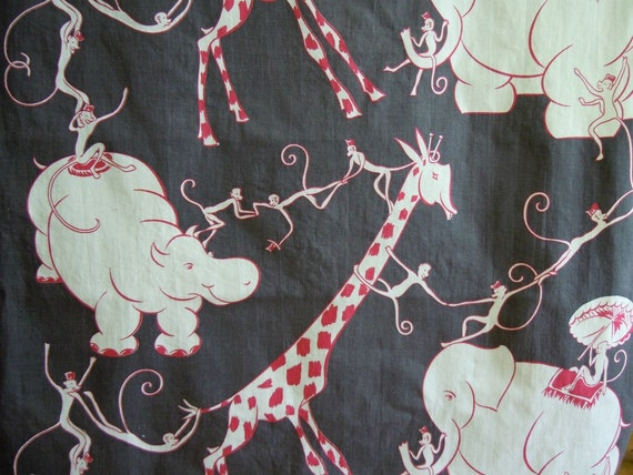 Mid-Century Modern Vintage Animal Fabric