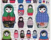 NEW / Vintage/ Altered Book Pages /  Matroyshka / Babushka Colourful Russian Nesting Doll / Eastern European /  / HomeDecor