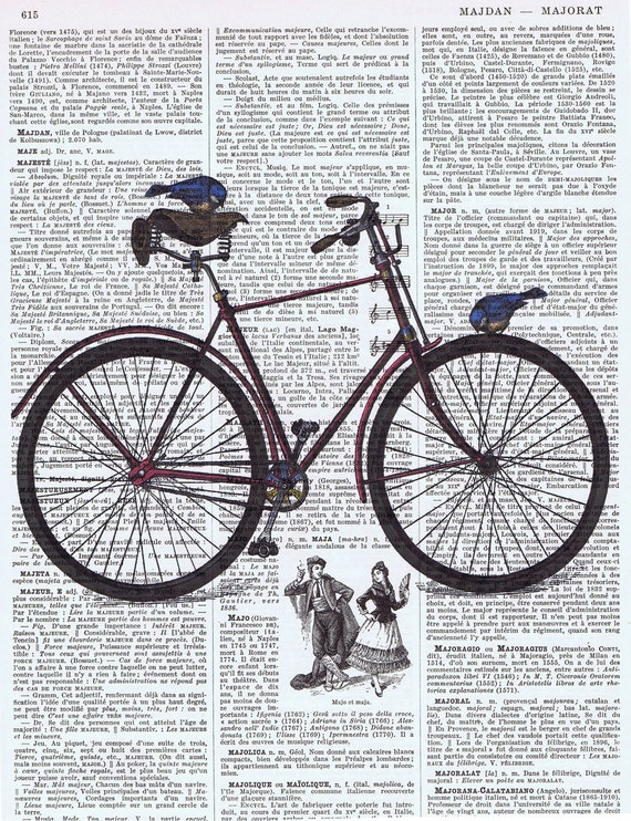 NEW / Vintage Book Pages, Map and Music Sheet  Prints / Vintage Bicycle Illustration with Birds
