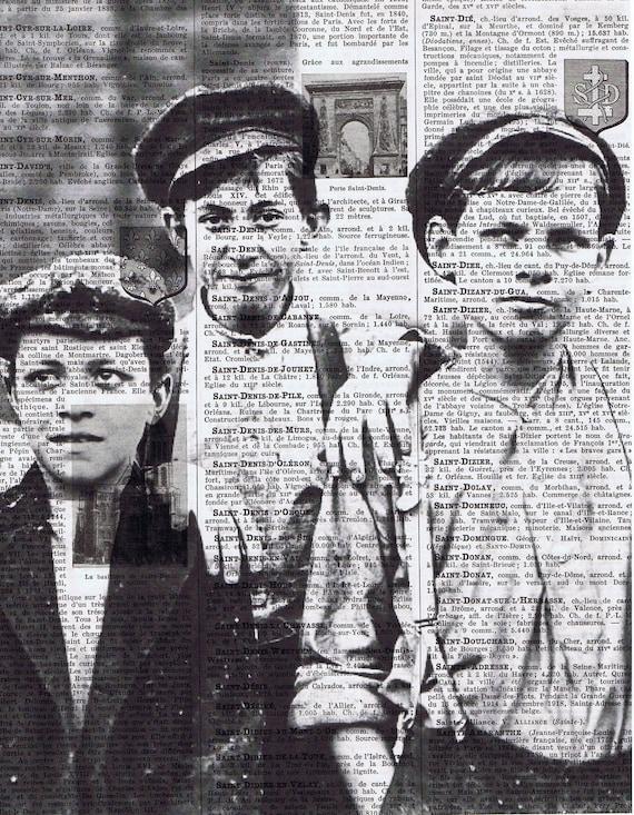 Altered  Vintage Book Pages Prints / Paper Ephemera  Factory Boys Portrait Vintage Photo