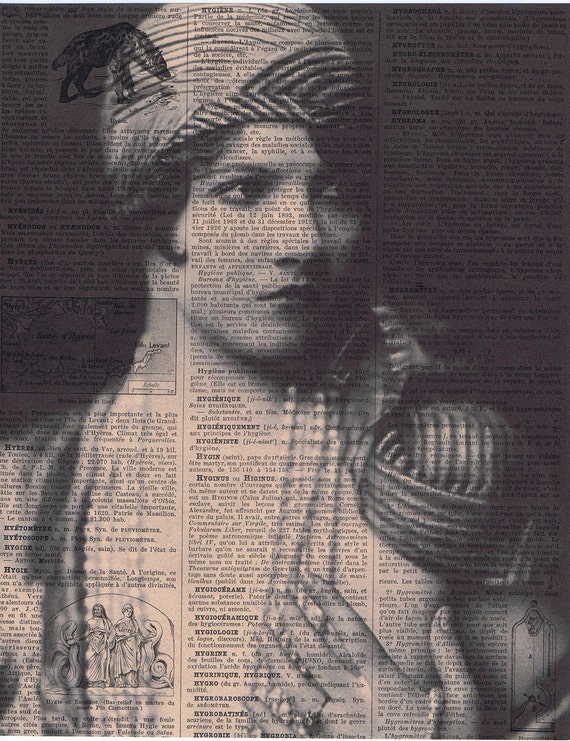 Spring, birthday, Gift /  Repurposed Vintage Book Page Print,  Portrait, Flapper with Turban Headdress/ Buy 3 get 1 free / Home decor