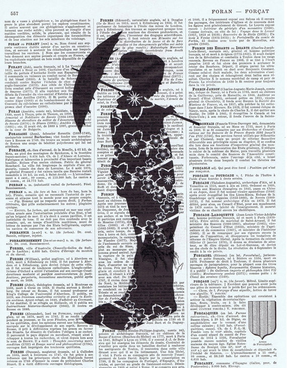 Birthday Gift, Antique Book Page Prints, Geisha Girl with Parasol Silhouette, black and white, buy 3 get 1 FREE