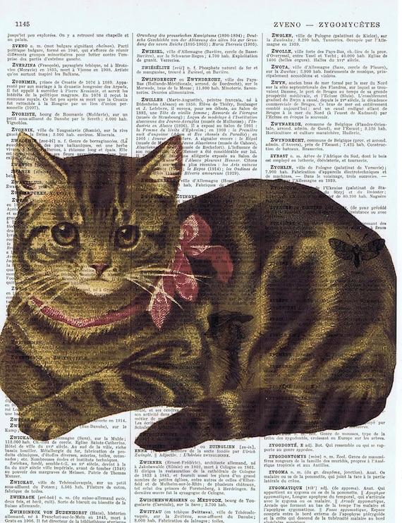 Gift, Birthday, Altered Art  / Cat, Kitten, Feline,Antique Book Page Prints, Buy 3 get 1 FREE, Affordable, Altered Art, Paper Ephemera