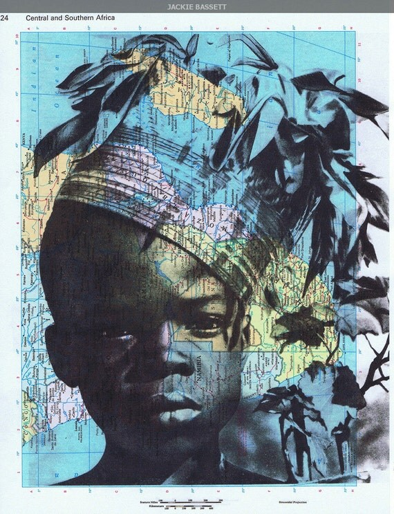 Gift, Map Prints, OOAK, Repurposed Book Pages, African  Boy Vintage Photo, handmade Special, home decor, buy 3 get 1 FREE, affordable