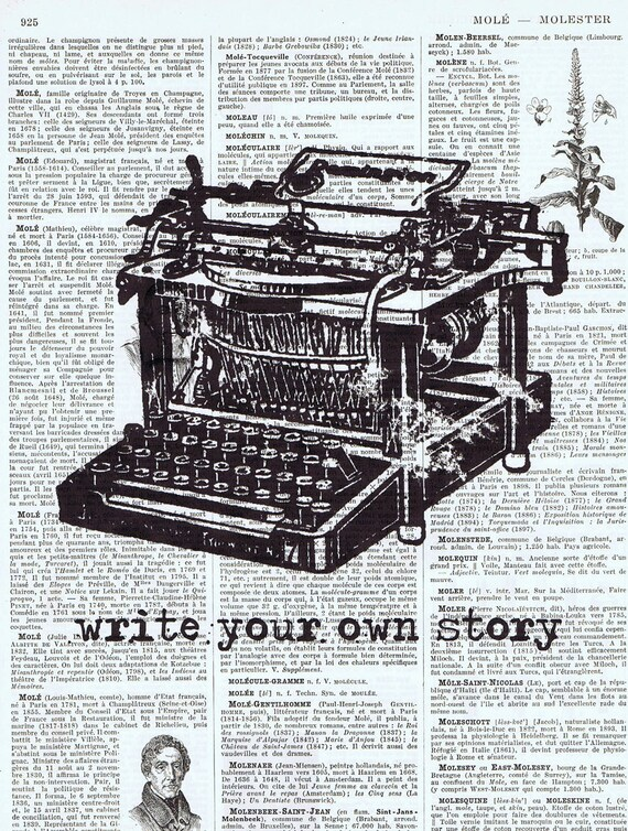 Handmade Gift , Vintage Typewriter , Inspiration,Altered, Repurposed, OOAK,  Book Page Print / Home Deco,Mixed media, spring