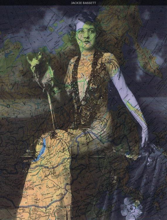 OOAK, Map Prints, Repurposed Book Pages,  Beautiful Woman Vintage Photo, Paper Ephemera.home decor, affordable art
