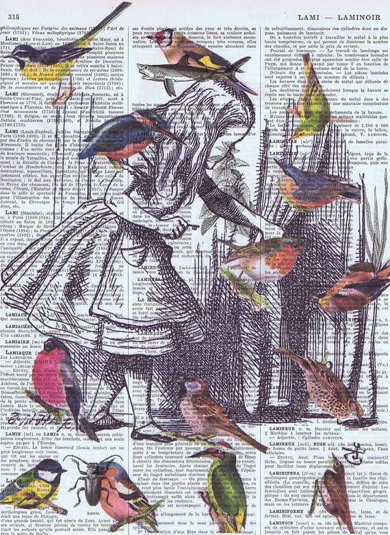 Alice In Wonderland Antique Book Page Prints BIRDS Buy 3 Get 1 FREE