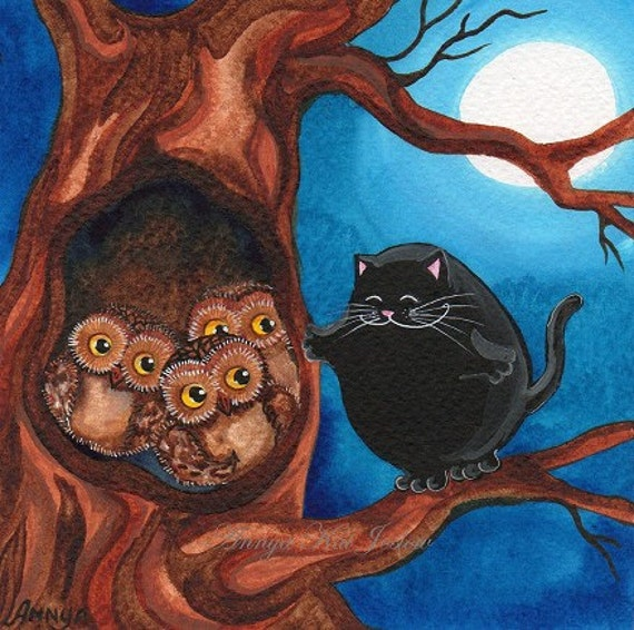 Three Little Owls in a Tree Trunk