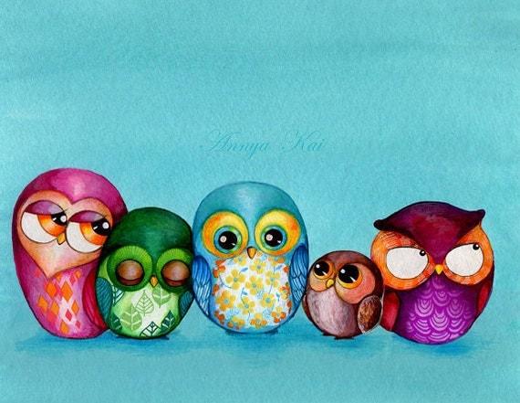 ORIGINAL Painting - Fabric Owl Family