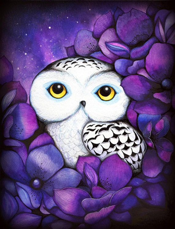 Snowy Owl - Night Time Bed Time Nature Flower Watercolor Painting by Annya Kai - Kids Room or Modern Nursery Decor - Purple Violet White