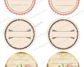 Custom Printed - Set of 54 - Round Circle Self-Adhesive  Sticker Labels - 3 1/3 inch for your Empty Ribbon spools - Romantic Rose