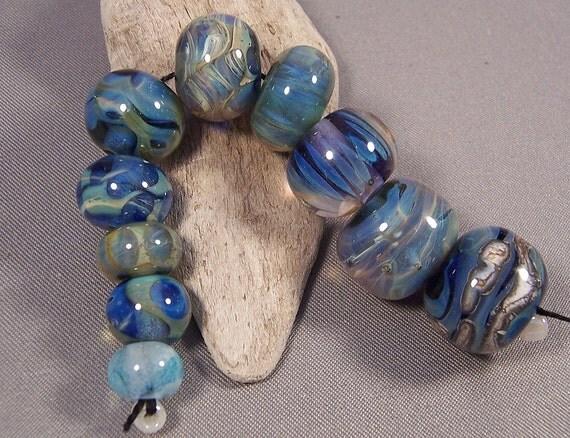 CLEARANCE -Handmade Lampwork Beads - Blue Bayou Bead Box Collection - Clearance Sale lampwork beads handmade by Mona