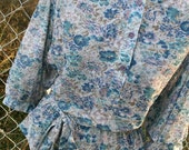 vintage 70s floral printed blue, lavender and tan BOHO PEASANT shirt batwing sleeves