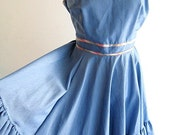 vintage square dance swing CUTE dolly sundress in chambray