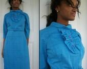 Sale////TUXEDO Vintage 60s Plaid Good Girl Belted Dress Sz S M L
