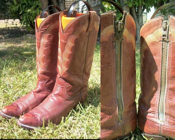 SALE//////Rare  Zipper Vintage 60s 70s TONY LAMA Unisex Western Boho Soft Leather Boot Sz  9B or Wm 10 1/2 11