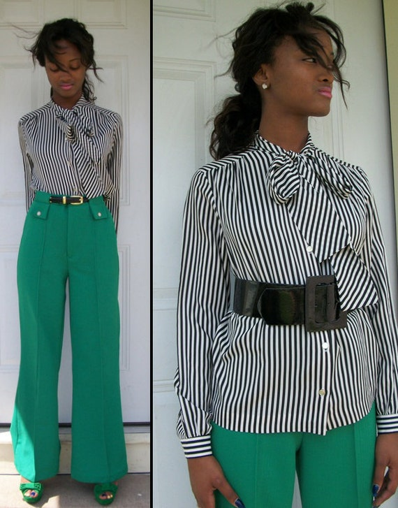 ON HOLD//////Striped Vintage 70s 80s Black and White Pussy Bow Referee Blouse Sz S M L