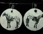 Handmade ceramic appaloosa horse earrings