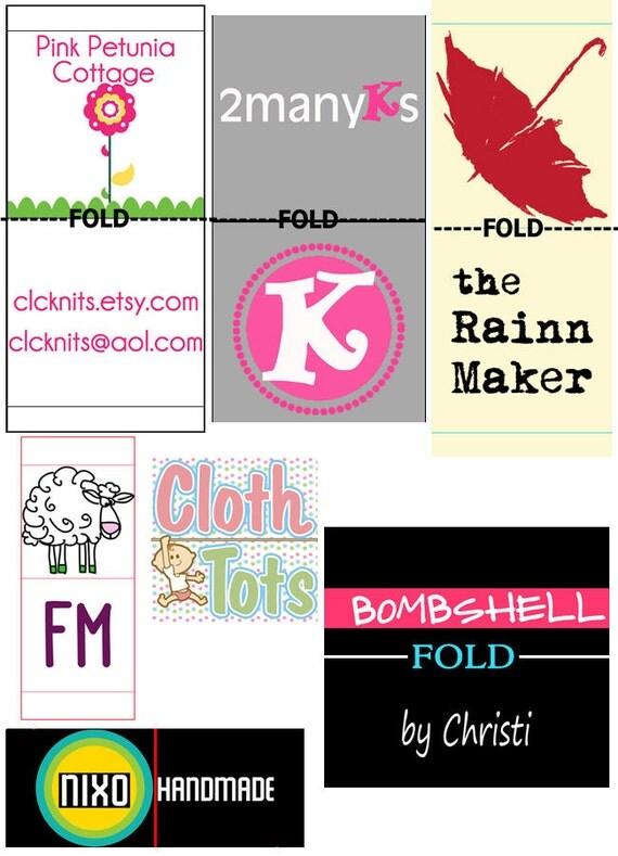 Custom Fabric Clothing Label design - with fold set-up