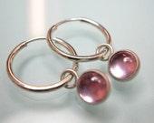 Pink Sapphire hoops