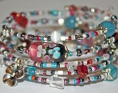 Handmade Lampwork Glass Bead Memory Wire Bracelet in Pinks & Blues