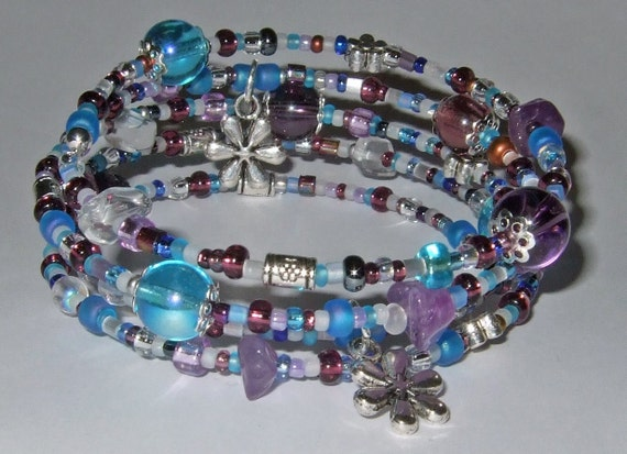 Handmade Amethyst & Rock Quartz Memory Wire Bracelet