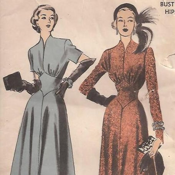 Early  50s Special Occasion Dress w\/ Front Inset Midriff - Advance 5171 (36-30-39)