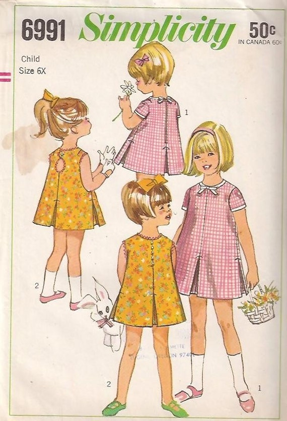 1967 Dress with SWEET Peek-a-Boo Back - Size 6X SIMPLICITY 6991