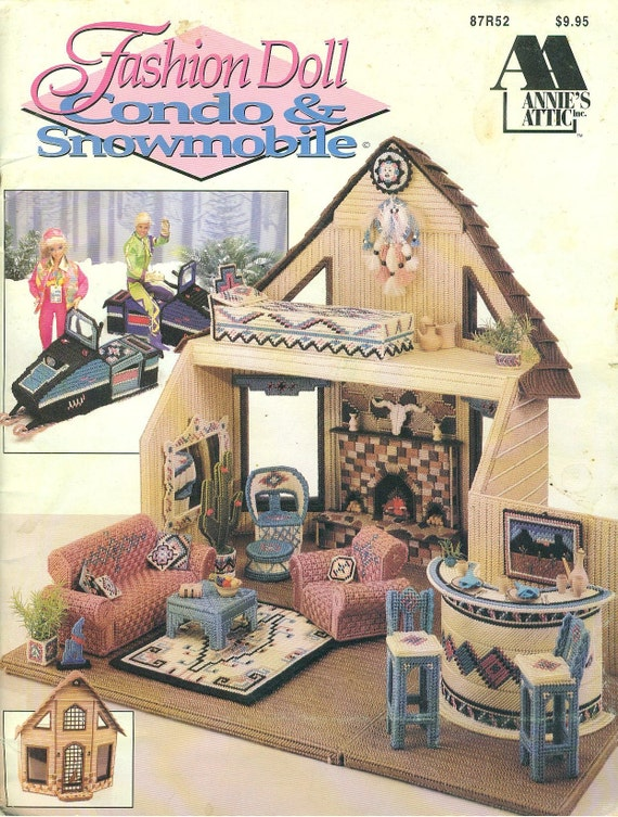 Fashion Doll Barbie CONDO and SNOWMOBILE -  OOP Plastic Canvas Pattern Book