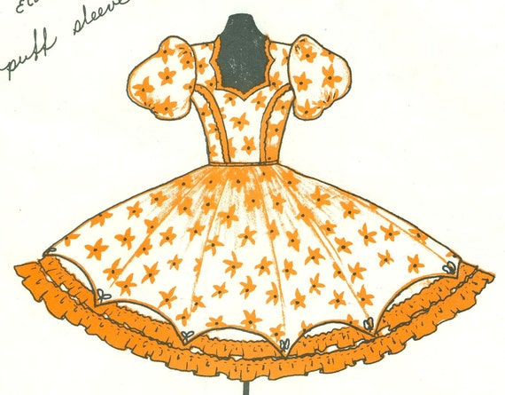 Vintage ROCKABILLY SQUARE DANCE DRESS Sz 14-16-18-20 KENTUCKY RUFFLES 667