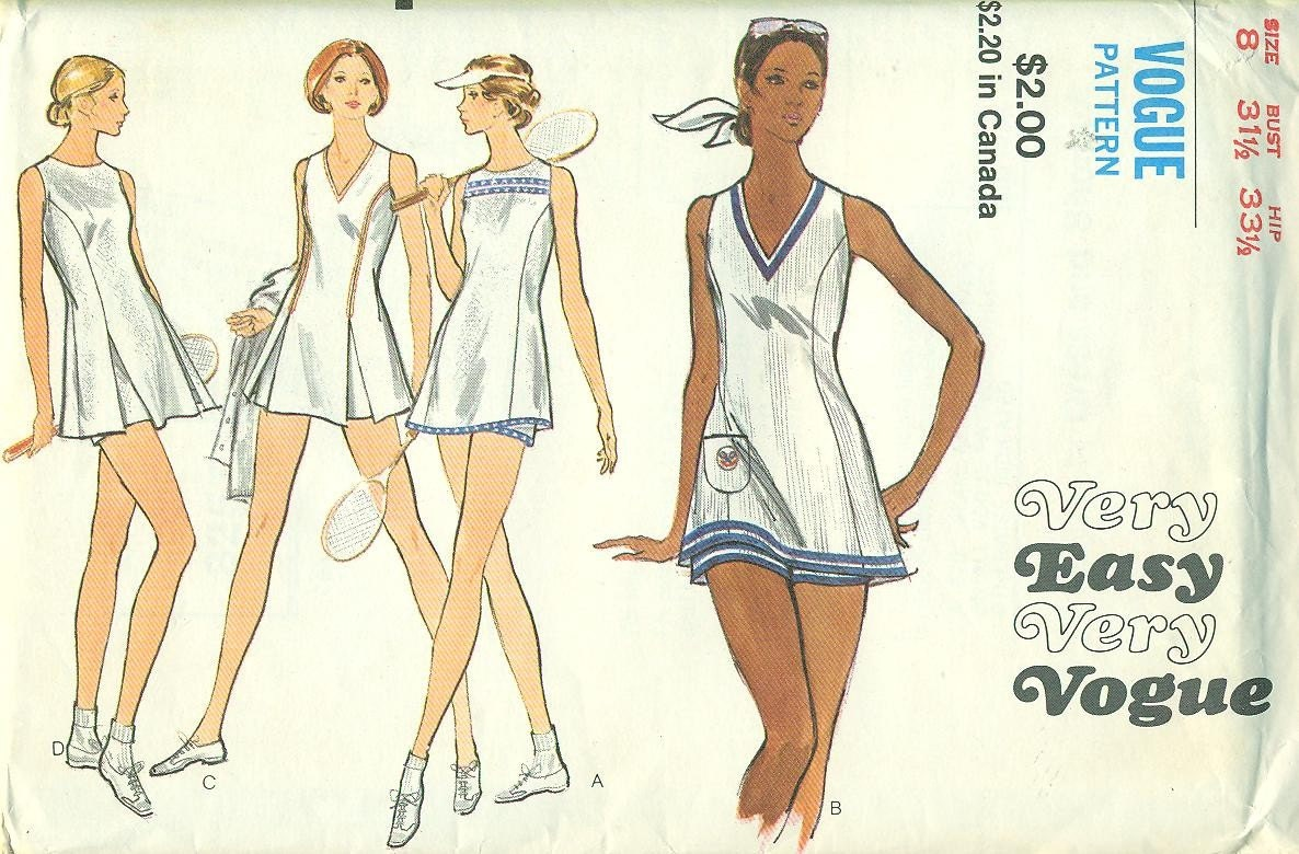 Vogue 8257 Vintage 70s Tennis Outfits Dress And By