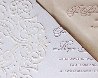 Letterpress Wedding Invitation - LETTERPRESS - The Event - Set of 100 by Invited Ink