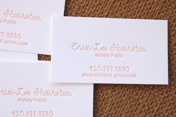 Calling Cards - LETTERPRESS Business Cards - Fancy Type - 1 color- 100 cards Your choice of fonts from listing