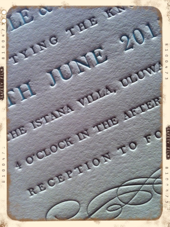 Letterpress Wedding Invitations - LETTERPRESS - Simply Flourished - Set of 100 by Invited Ink
