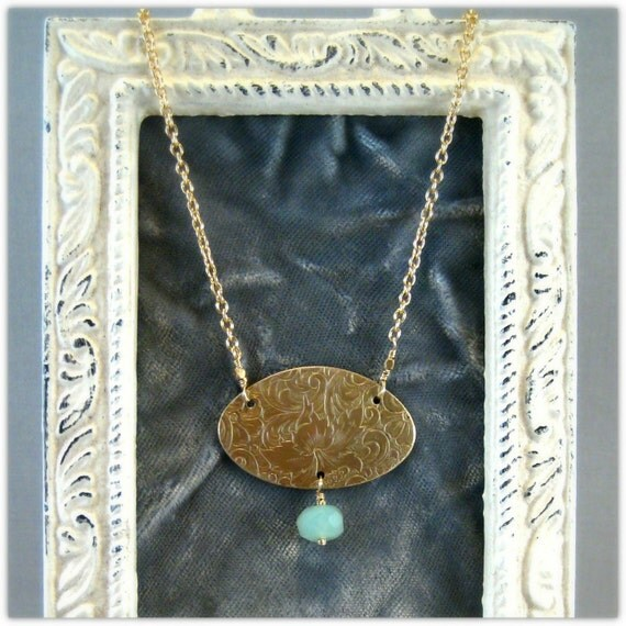 Sea Foam Green Chalcedony and Gold Necklace