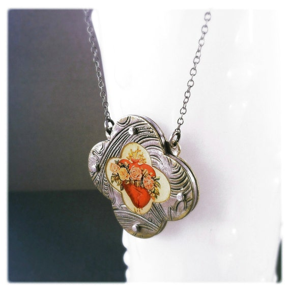 Immaculate Heart Necklace - Vintage Metal