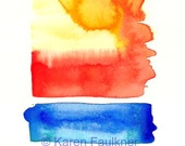 The Sun Also Rises original watercolor painting 4x6 inches