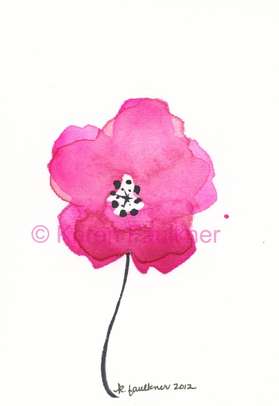 Spring Pink original watercolor flower painting 4x6 inches