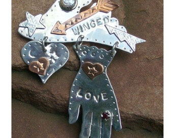 Winged Love Sterling Silver Pin Fresh Water Pearl, copper accents