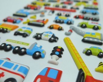 Cute Kawaii Puffy Japanese Sticker - Working Cars (1134) by Mind Wave Inc.