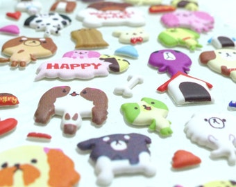 Cute Puffy Japanese Stickers - Animal Fun - Puppy Dog Dress Up Party (1182)