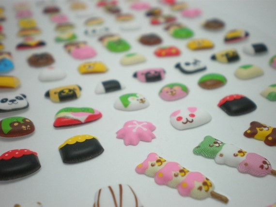 Cute Puffy Japanese Sticker - Sushi,  Sakura and Kawaii Japanese Desserts (1116)