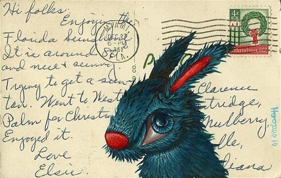 Bunny on a Vintage Postcard (Miami, FL)