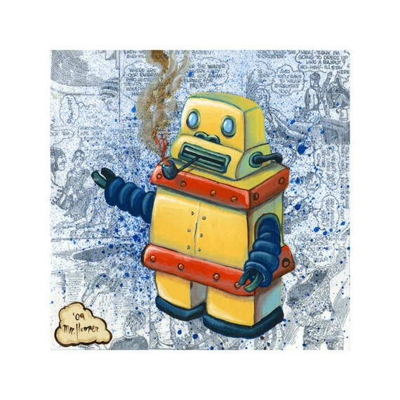 Yellow Smoking Robot - Reproduction