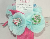 Mini pink polka dot spring summer Place Card Tissue Paper Flowers Party Favor Lollipop Sucker Flower Tiffany Blue